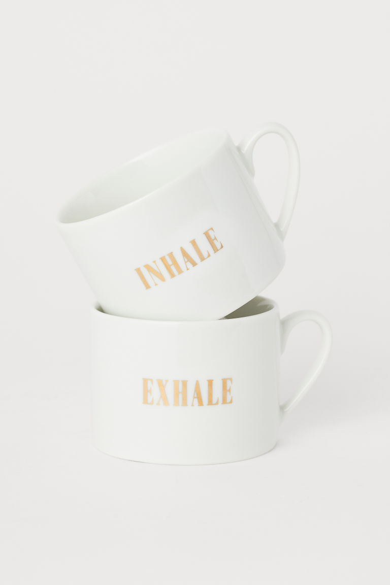 2-pack porcelain cups - White - Home All | H&M CN