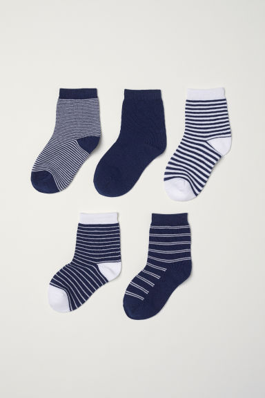 5-pack socks - Dark blue/White striped - Kids | H&M