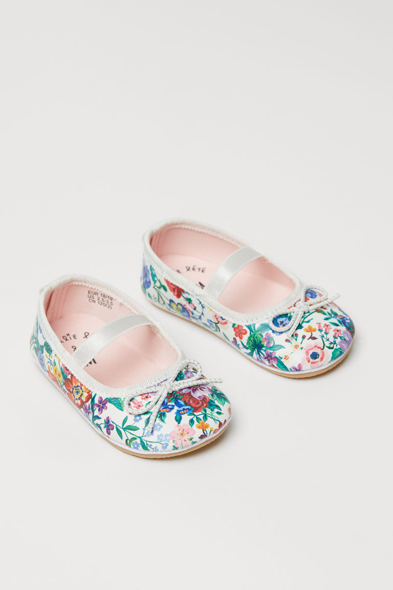 Patterned ballet pumps - White/Floral - Kids | H&M