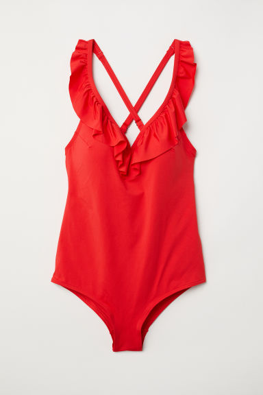 H&M+ Frill-trimmed swimsuit - Bright red - Ladies | H&M CN