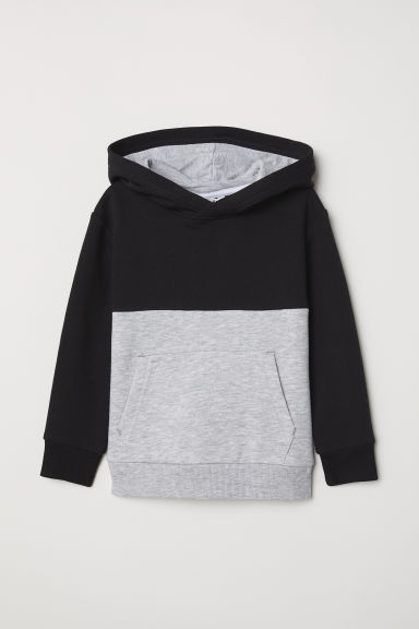Hooded top - Black/Light grey marl - Kids | H&M CN