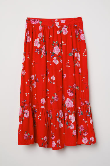 Patterned flounced skirt - Bright red/Floral - Ladies | H&M CN