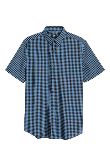 Camicia easy-iron Slim fit - Blu/nero quadri -  | H&M IT