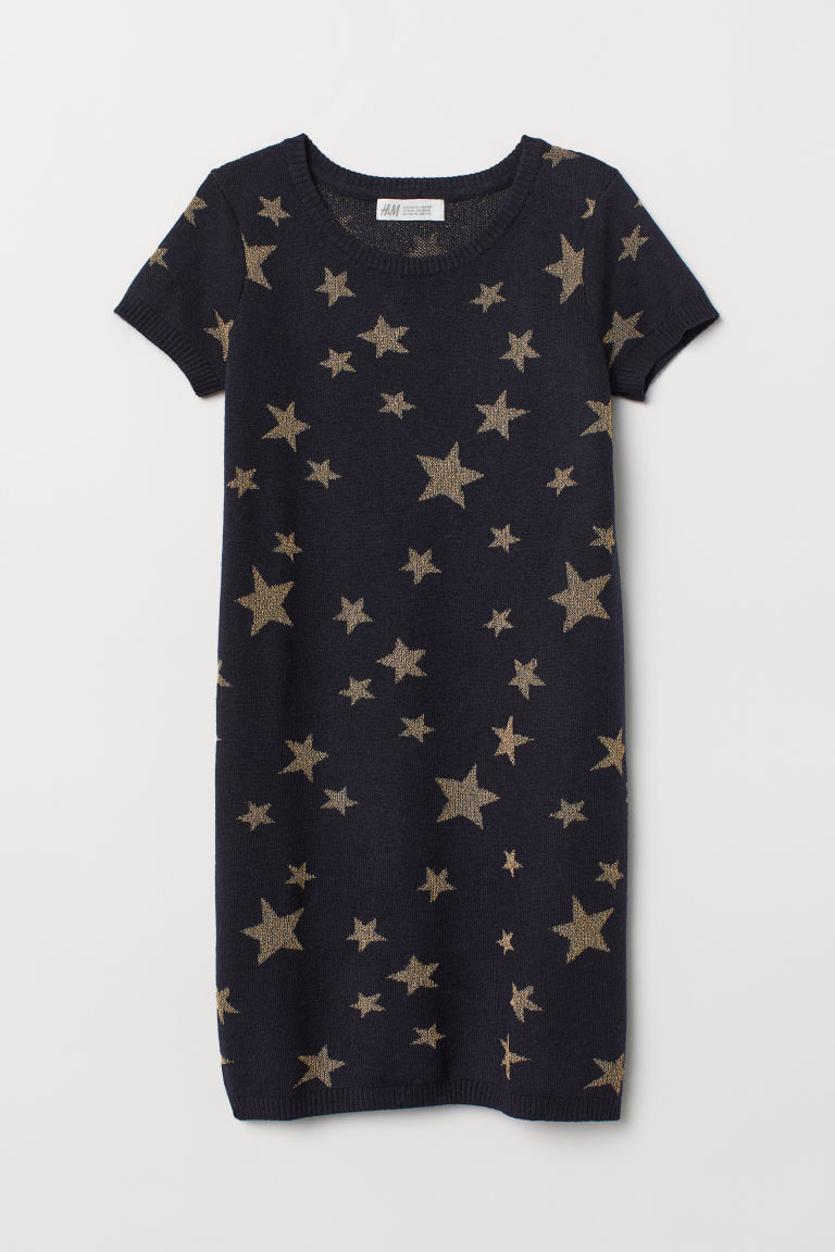 Knitted wool-blend dress - Dark blue/Stars - Kids | H&M CN