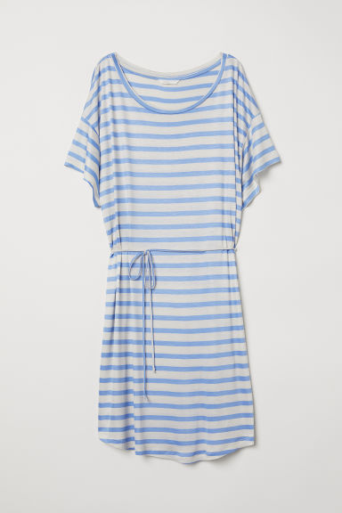 T-shirt dress with a tie belt - Light mole/Blue striped - Ladies | H&M