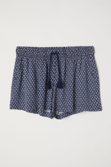 Patterned shorts - Dark blue - Ladies | H&M