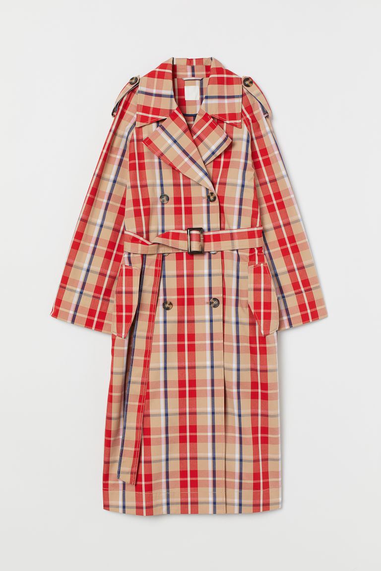 Checked cotton trenchcoat - Red/Checked - Ladies | H&M GB