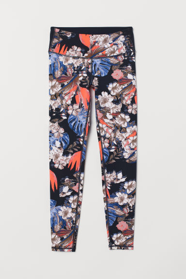 Yoga tights Shaping Waist - Dark blue/Floral - Ladies | H&M IE