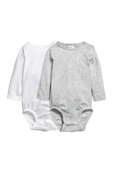 2-pack pima cotton bodysuits - White/Grey marl - Kids | H&M CN