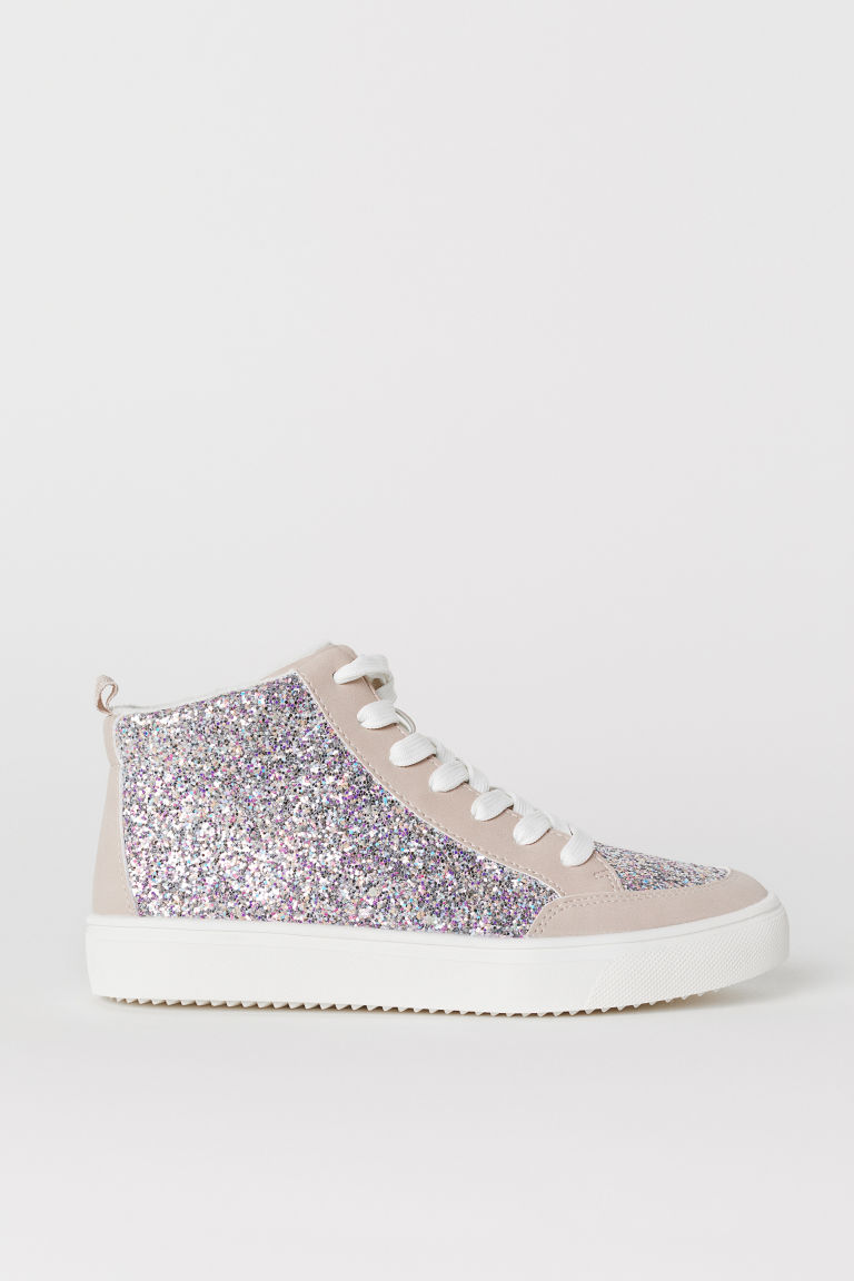 Warm-lined hi-tops - Beige/Glittery - Kids | H&M