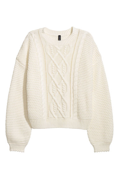Textured-knit jumper - White - Ladies | H&M