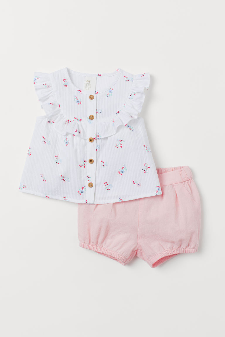 Cotton blouse and shorts - White/Floral - Kids | H&M