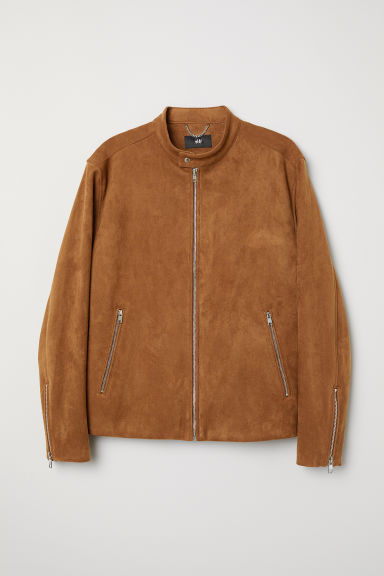 Imitation suede jacket - Brown - Men | H&M CN