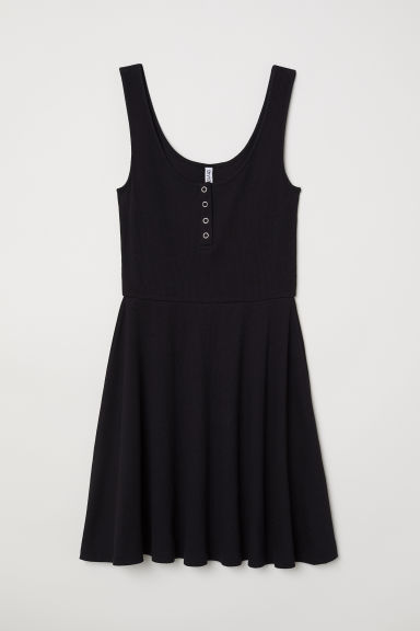 Ribbed jersey dress - Black -  | H&M