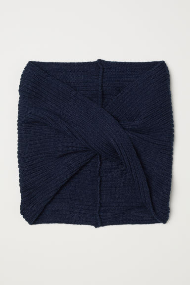 Knitted tube scarf - Dark blue -  | H&M CN