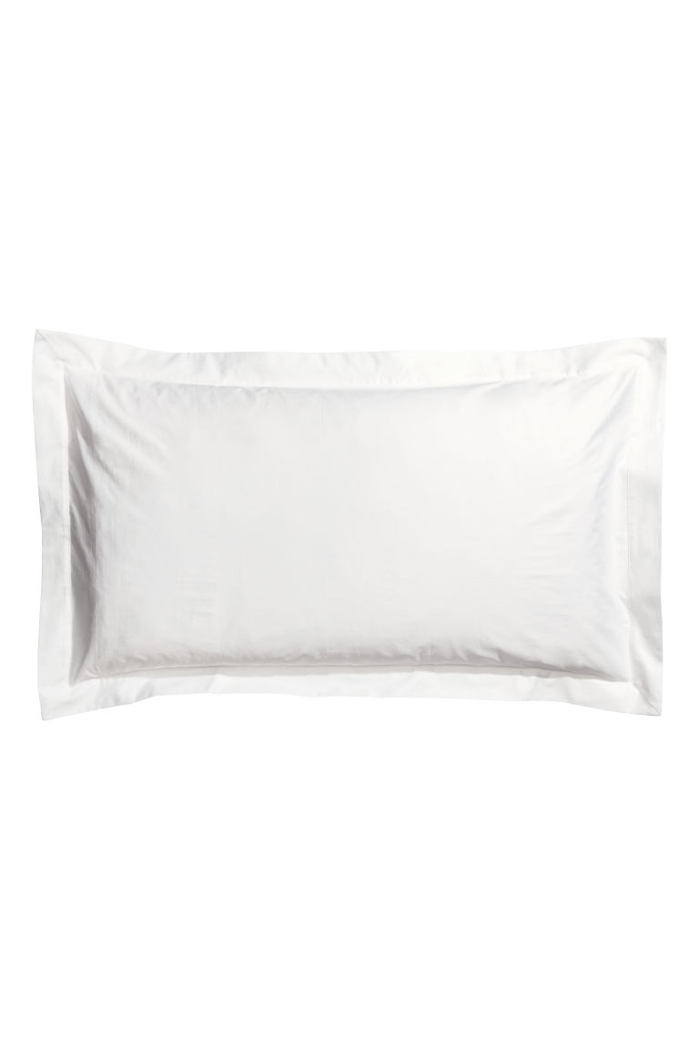 Cotton satin Oxford pillowcase - White - Home All | H&M CN