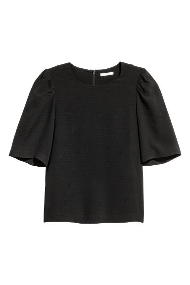 Puff-sleeved blouse - Black -  | H&M