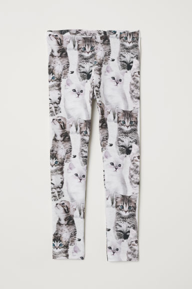 Patterned jersey leggings - Light grey/Kittens - Kids | H&M CN