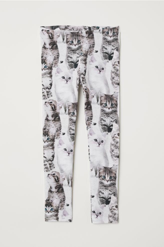 b6d8834e349076 Patterned Jersey Leggings - Light gray/kittens - Kids | H&M ...