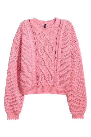 Textured-knit jumper - Pink -  | H&M