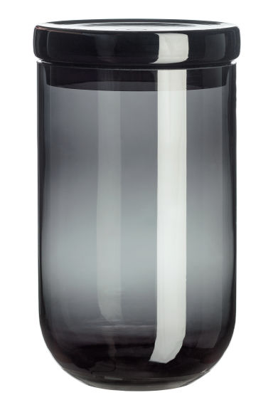 Large glass jar with a lid - Anthracite grey -  | H&M CN