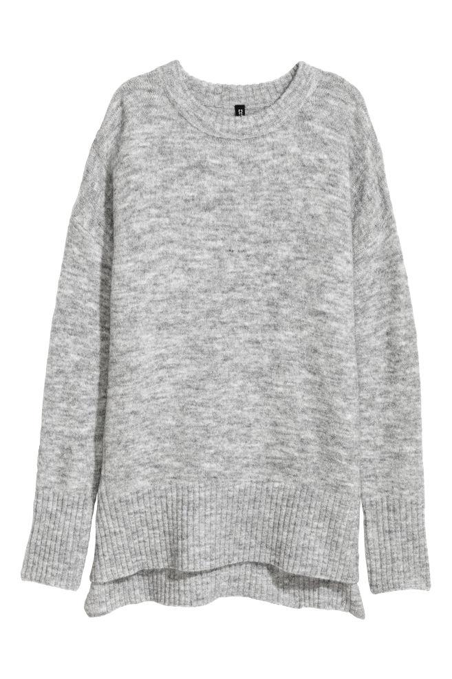 b3dc4e21 Strikket genser - Lys grå - | H&M ...