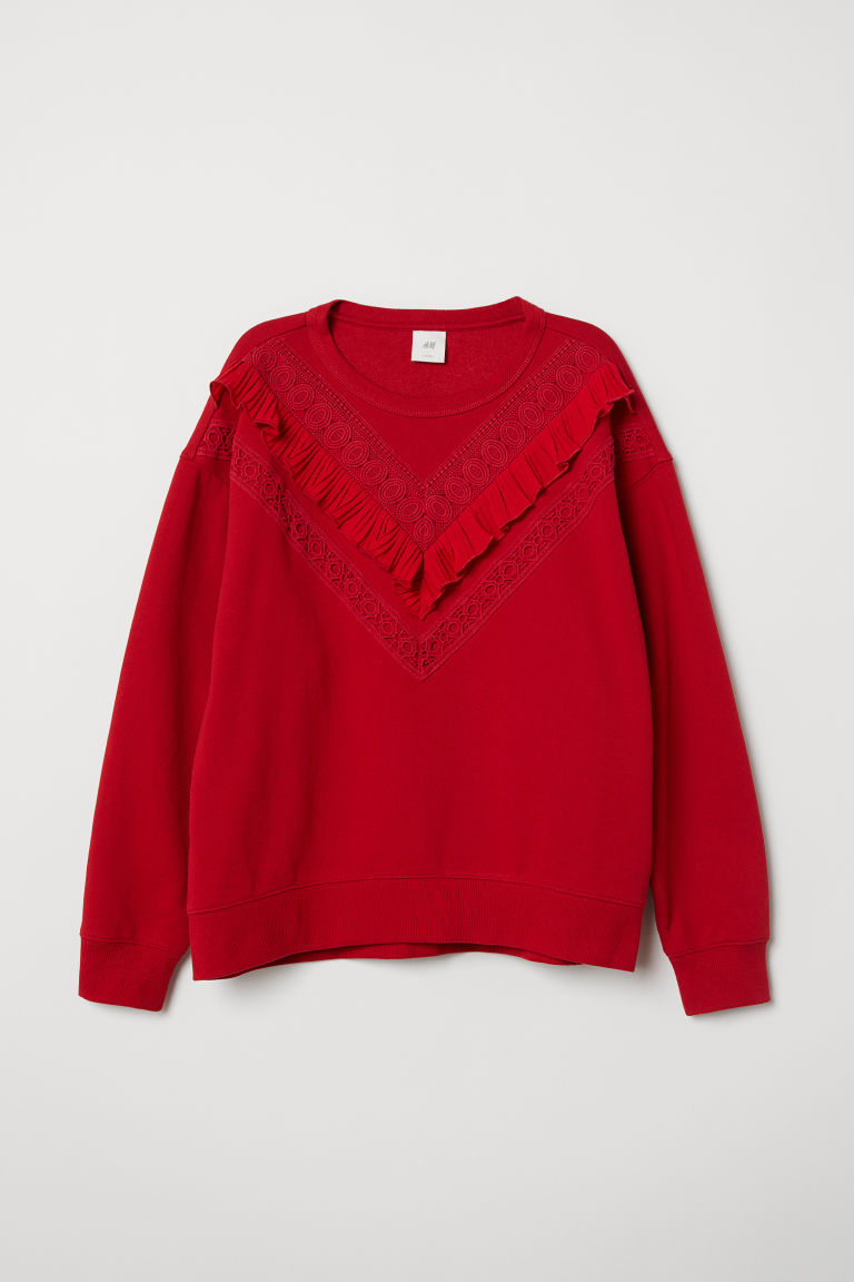 Frilled sweatshirt - Red - Ladies | H&M CN