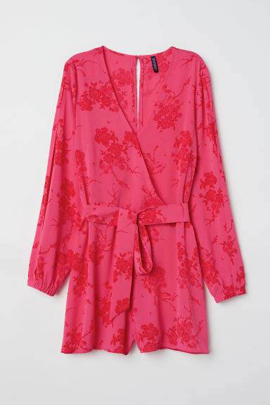 Playsuit - Raspberry red/Floral - Ladies | H&M CN