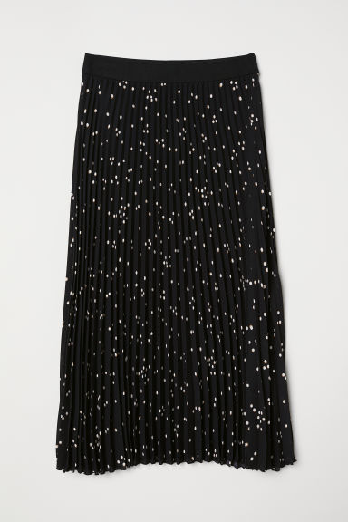 Pleated skirt - Black/White spotted - Ladies | H&M GB
