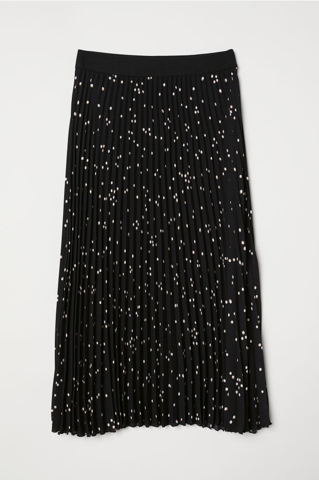 ba7ab81afc Pleated skirt - Black/White spotted - Ladies | H&M 1