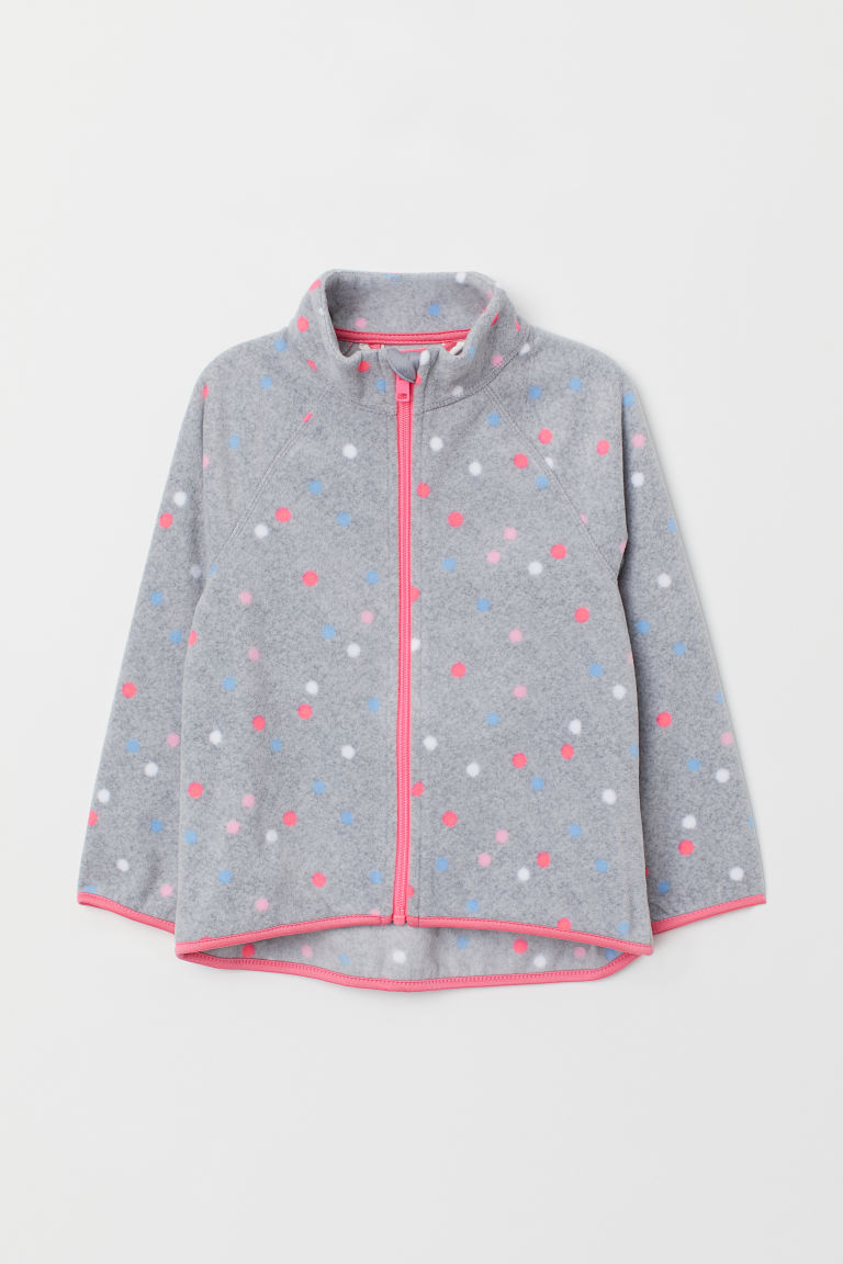 Fleece jacket - Grey/Spotted -  | H&M CN