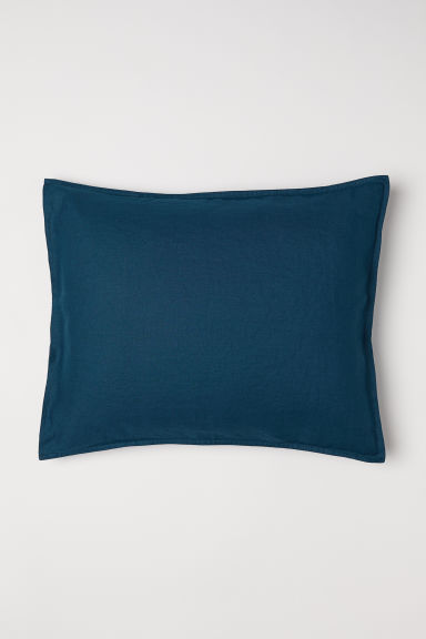 Washed linen pillowcase - Petrol - Home All | H&M CN
