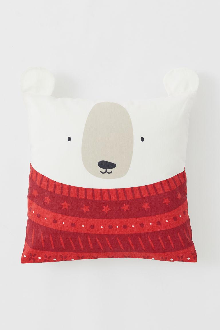 Housse de coussin en coton - Rouge/ours polaire - Home All   H&M FR
