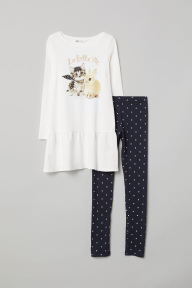 Dress and leggings - White/Cat - Kids | H&M