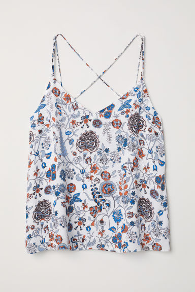 Chiffon strappy top - White/Floral -  | H&M