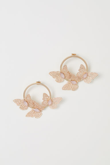 Earrings with butterflies - Gold-coloured/Light pink - Ladies | H&M CN