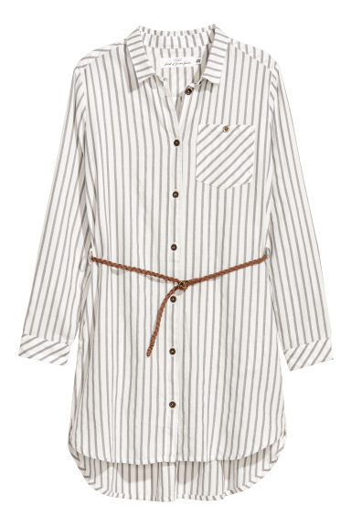 Shirt dress - White/Grey striped - Kids | H&M CN