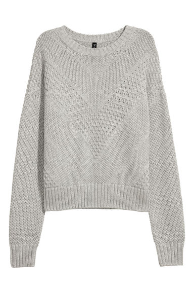 Textured-knit jumper - Grey marl - Ladies | H&M