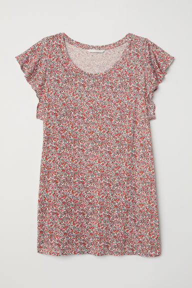 Flounce-sleeved jersey top - White/Floral - Ladies | H&M CN