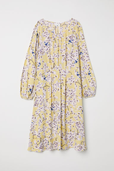 Textured-weave dress - Light yellow/Floral - Ladies | H&M GB