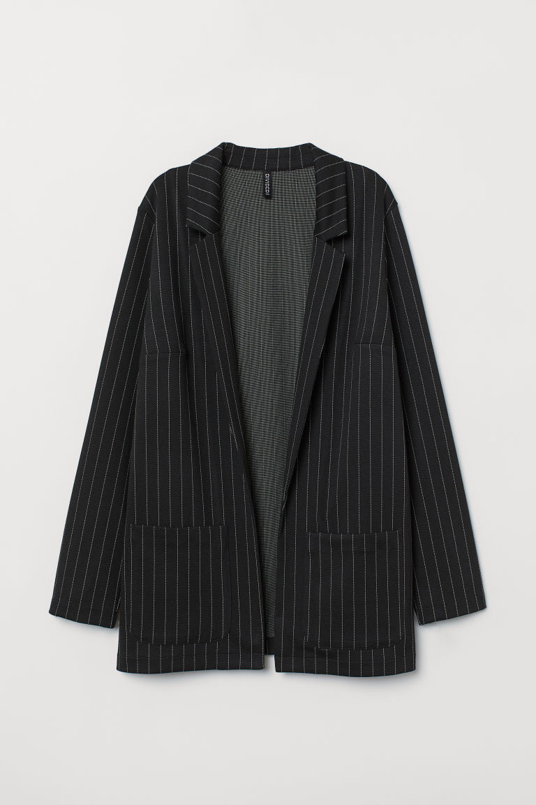 Long jacket - Black/Pinstriped -  | H&M IN