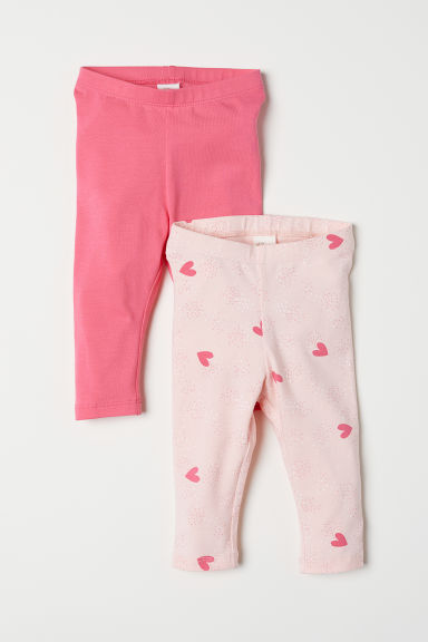 2-pack jersey leggings - Light pink/Hearts - Kids | H&M