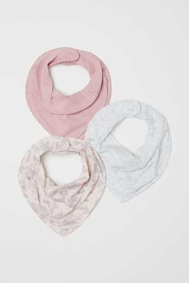 3-pack triangular scarves - Powder pink/Patterned - Kids | H&M