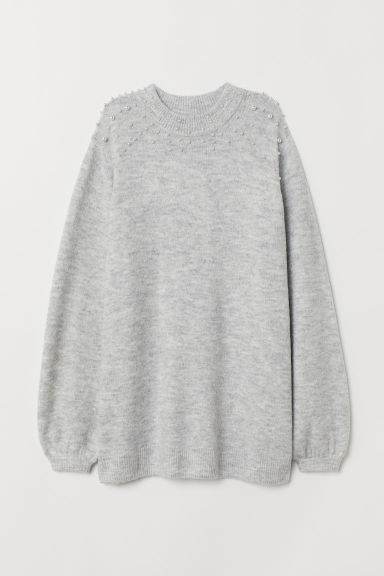 Beaded jumper - Light grey marl - Ladies | H&M