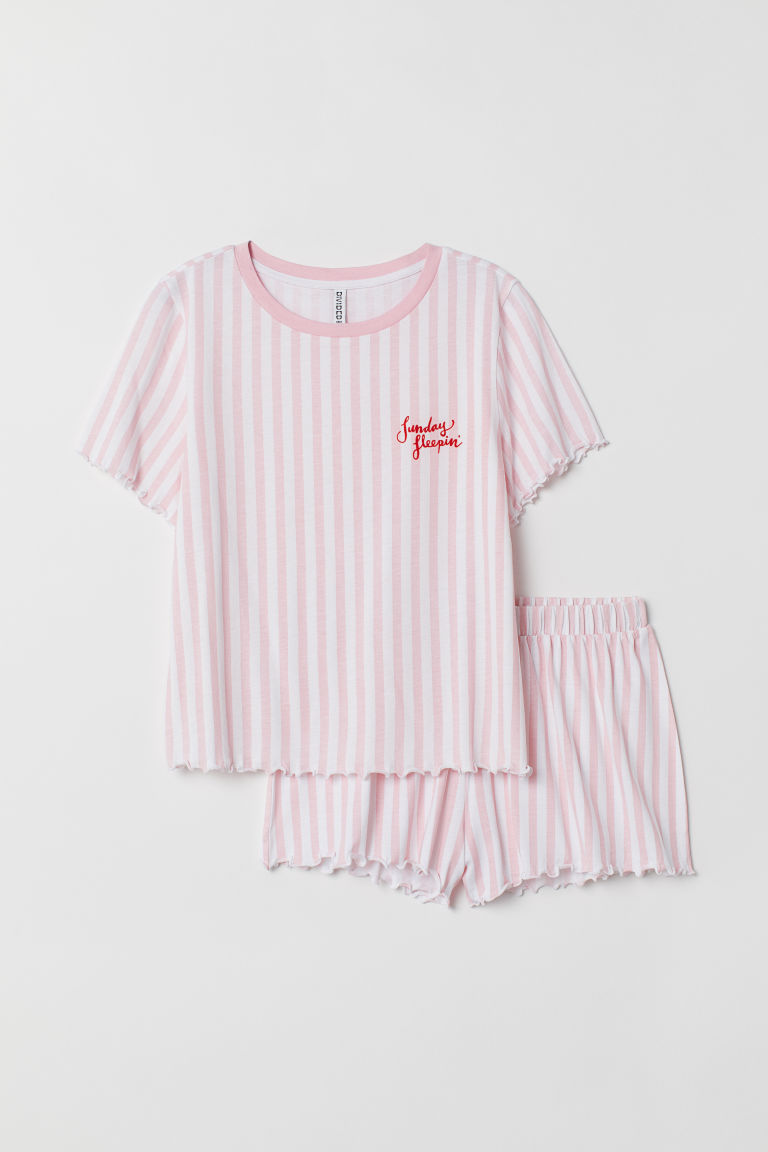 Pyjama top and shorts - Pink/White striped -  | H&M CN