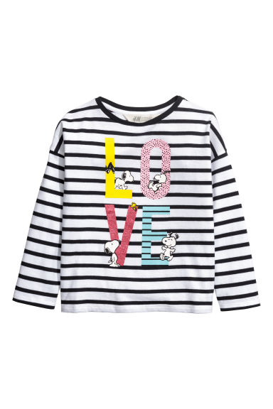 Long-sleeved top - White/Snoopy - Kids | H&M CN