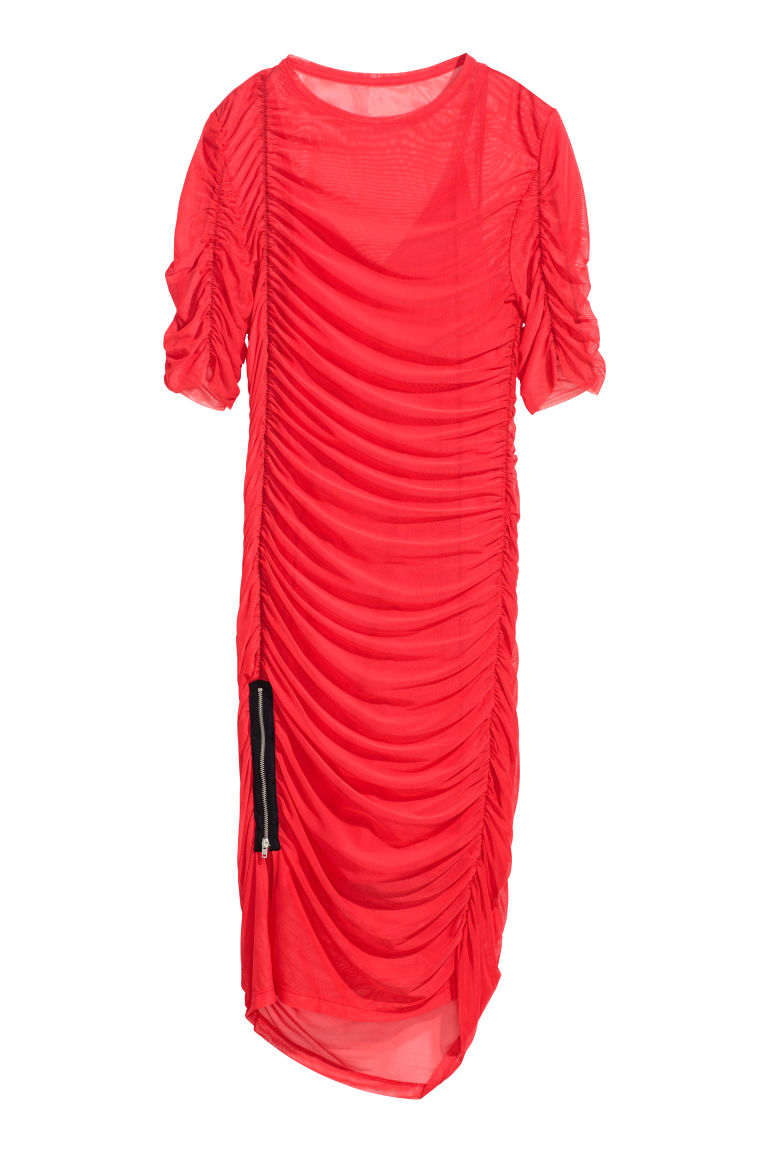 Draped mesh dress - Red -  | H&M