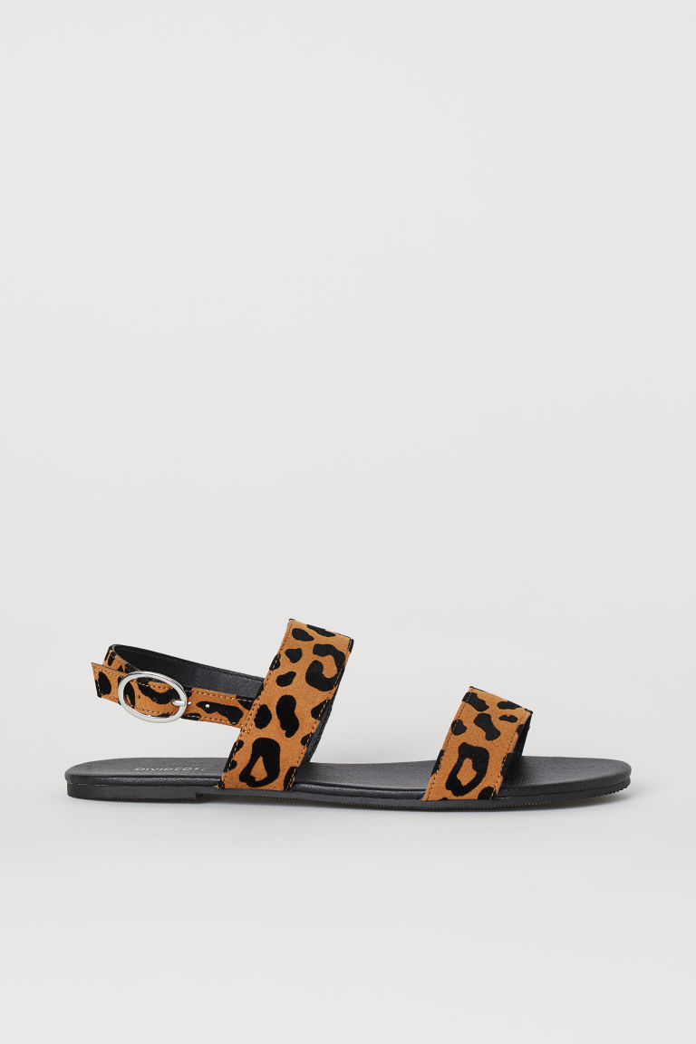 Imitation suede sandals - Light brown/Leopard print -  | H&M