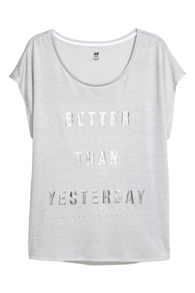 H&M+ Sports top - Light grey marl - Ladies | H&M CN