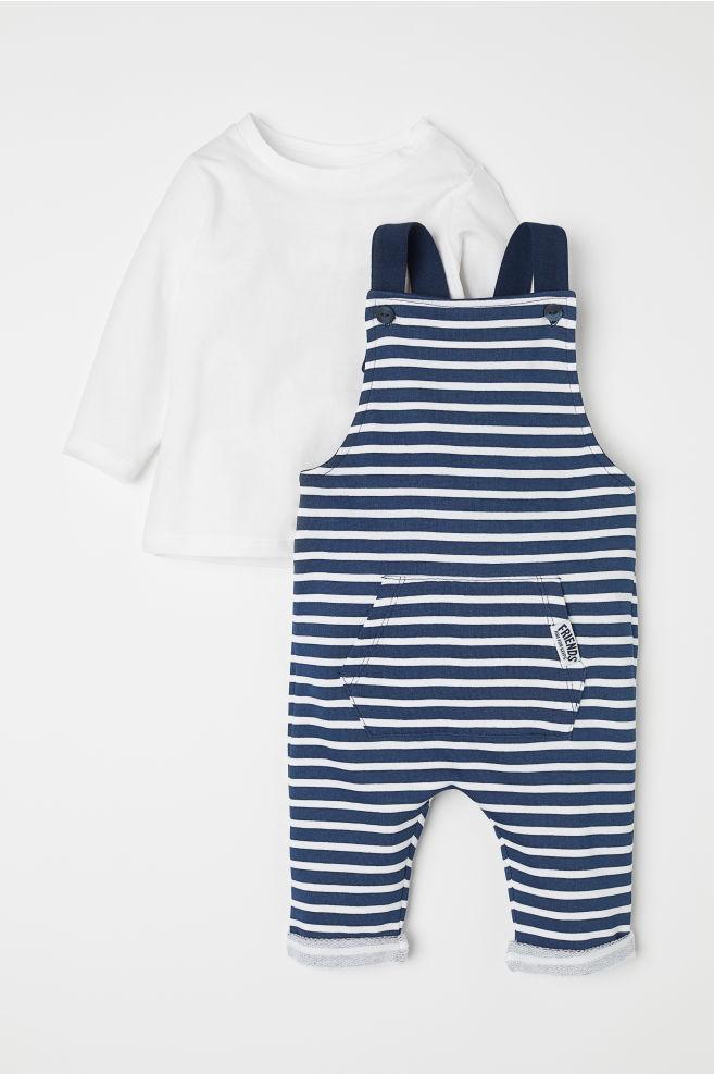 9344c0411 Shirt and Bib Overalls - Dark blue striped - Kids
